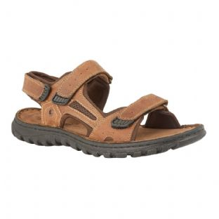 Lotus Douglas Mens Tan Leather Velcro Sandals